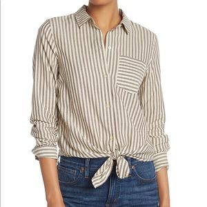 NWT Madewell Striped Long Sleeve Tie Front Shirt